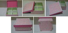 Caixa de MDF encapadas com tecidos com estampas cor de rosa e verde, detalhes com fita e pérolas. Divisão interna. Dimensão: 14 cm x 14 cm x 5 cm. Fabric covered boxes. Pink colors and green.