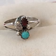 Vintage Native American Navajo Sterling Silver 925 Turquoise & Coral Ring Size 6 by JewelryGeeks on Etsy https://www.etsy.com/listing/220396989/vintage-native-american-navajo-sterling