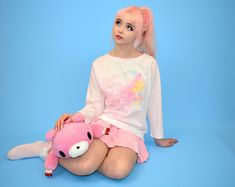 Japanese fairy kei brand Milklim Magical t-shirt with sleep bunny and moon print with pink tulle overlay. Size guide: Tag says Japanese M. Would best fit a western size S-M. Will fit up to a UK Harajuku Girls, Harajuku Fashion, Kawaii Fashion, Sleeping Bunny, Liz Lisa, Moon Print, Sanrio Hello Kitty, Pink Tulle, Little Twin Stars