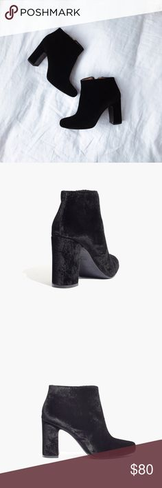 """Madewell nealy boot in velvet Worn only once! Sleek, streamlined boots made of so-soft velvet, these guys have a bit of a mod vibe. Cut at just the right spot on the ankle to go perfectly with (yay!) cropped jeans. When you select your size, """"H"""" equals a half size. 5"""" shaft height (based on size 7). 3 1/2"""" heel. Velvet upper. Leather lining and sole. Import. Select stores. Madewell Shoes Ankle Boots & Booties"""
