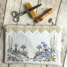Handmade bags, phone covers and gadget sleeves on Folksy Fabric Postcards, Embroidery Bags, Handmade Pottery, Handmade Bags, Pink Roses, Fiber Art, Purses And Bags, Weaving, Vintage Linen