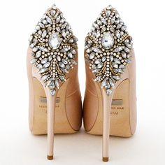 Badgley Mishka Wedding Shoes. Kiara, a stunning bridal & evening shoe that makes a fabulous entrance and exit. Peep toe, crystal back ornament.