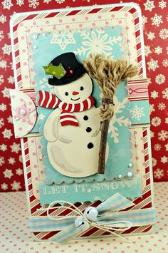 Retro Kitsch Handmade Christmas Card  Frosty The by purplepeashop, via Etsy