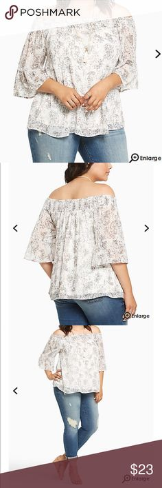 Torrid paisley print chiffon off the shoulder top Torrid paisley print chiffon off the shoulder top NWT TORRID SIZE 00 torrid Tops