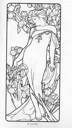 Alphonse Mucha Coloring Pages 1000+ images about imagens para colorir on pinterest ...