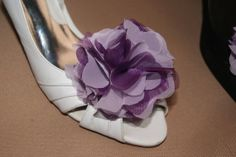 Lavenderpurple bridal shoe clips in organza and by shoeclipsboutik, $19.00