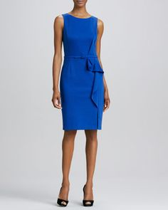 Sheath+with+Side+Drape+by+David+Meister+at+Neiman+Marcus.
