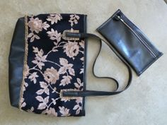Tapestry and faux leather Tote and clutch #faux leather #purse #tote #jackie robbins