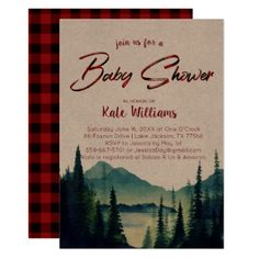 Shop Buffalo Plaid Mountain Wedding Invitation created by IYHTVDesigns.