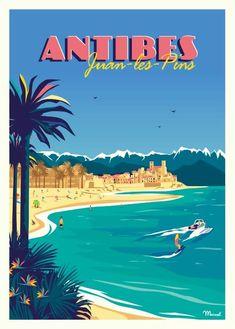 ~ Marcel Antibes, Juan Les Pins, Surfboard Drawing, Ski Nautique, Soorts Hossegor, Station Balnéaire, Poster Drawing, Seaside Resort, Walled City