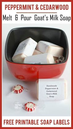 Easy Melt & Pour Soap Recipes: Peppermint & Cedarwood Goat's Milk Soap with Free Printable Soap Labels - Free Printables - Health Cool Gifts For Women, Gifts For Teens, Melt And Pour, Soap Labels, Labels Free, Goat Milk Soap, Soap Recipes, Home Made Soap, Handmade Soaps
