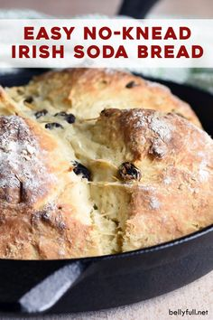 This Irish Soda Bread recipe, made with buttermilk and raisins, is absolutely delicious and so easy. No-knead, no rising, no waiting. Amazing warm from the oven on its own or with a slab of butter! Easy Bread Recipes, Fun Easy Recipes, Easy Meals, Cooking Recipes, Irish Desserts, Irish Recipes, Asian Desserts, Saint Patrick, Buttermilk Bread