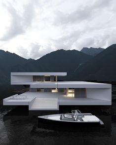 Modern and minimalist home. Design Villa Moderne, Modern Villa Design, Modern Architecture House, Amazing Architecture, Architecture Design, Container Architecture, Architecture Diagrams, Minimalist Architecture, Architecture Portfolio