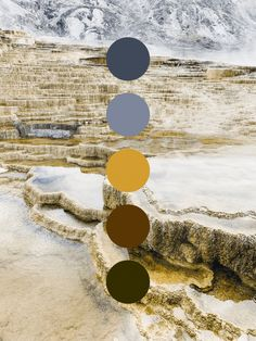 Color palette inspired by Mammoth Hot Springs in Yellowstone National Park. Muted blues, yellows, and browns create a dark earthy tone. Can you believe this photo was actually taken in June? Earthy Color Palette, Colour Pallette, Colour Schemes, Muted Colors, Color Combos, Theme Color, Design Seeds, Design Graphique, Color Theory