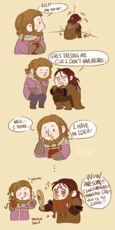 Ori cheering up a saddened Kili. By innocence777. This is adorable. XD