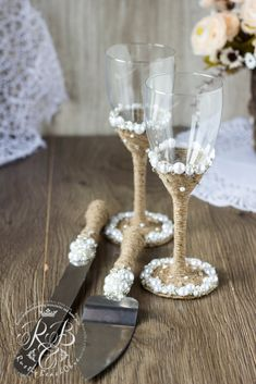 Vintage Chic blanco boda SetCake servidor y Knife boda gafas