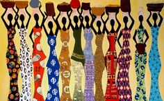 Market place, multi medium african art painting,bright,colorful for home and office