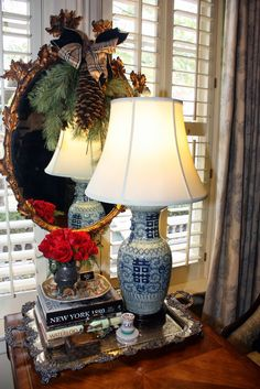 Simple Pleasures: Mary Carol Garrity's Christmas Open House Part the Foyer, the Study, and the Living Room. ~ Antique ~ Blissfully blue and white lampshade ~ Decor, Living Room, House, Christmas Colors, Christmas, Home Decor, Christmas Open House, Open House, Blue And White
