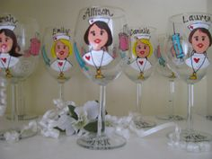 Image detail for -Nurse Hand painted Personalized Wine Glasses by ImGlassyEyed
