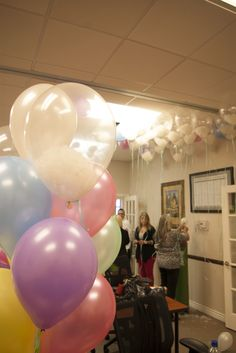 Fill clear balloons with cotton wool or polyfill, inflate with helium, and you have clouds! Clever ideas from our sales team!
