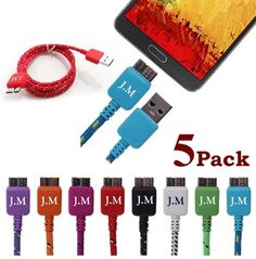 nice Josi Minea® 5 Pcs Fabric Braided Premium High Quality Ruggedized Micro USB Rainbow Cables 3 Feet / 1 Meter Charger Sync Data Rapid Charging Cable USB Cord Wire for Samsung Galaxy / SV / and Galaxy Note 3 / III / / Pack) Hunting Stores, Galaxy Note 3, Charging Cable, Samsung Galaxy S5, Cell Phone Accessories, Usb Flash Drive, Charger, Cord, Rainbow