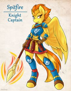 """ambris-art: """" """" Luna's Notes: Knight-Captain Spitfire is an exemplary soldier. The independent City-State, Cloudsdale, has a strong record of military success and stability, much of which can be attributed to Spitfire's efforts. Demonstrating her..."""