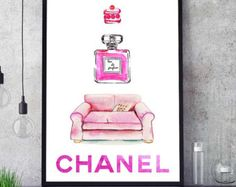 Chanel Inspired Art Chanel Decor Color Poster Wall Art by PointDot