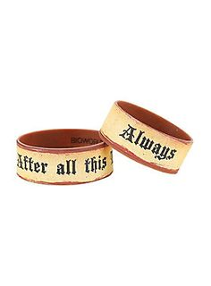 "<p>Set of two brown rubber bracelets from <i>Harry Potter</i> featuring text designs that read ""Always"" & ""After all this Time?""</p>  <ul> 	<li>1"" wide</li> 	<li>Imported</li> </ul>"