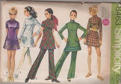 Simplicity 8563 Vintage 60's Sewing Pattern STELLAR Mod Twiggy Space Age Bell Skirt Mini Dress, Tunic Top, Pants, High Collar, Button & Band Trims COOL! #MOMSPatterns