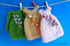 BLYTHE DOLL Dress - OOAK - Delicate mohair dress with vintage roses feature by Little Lovelies, $50.00 USD