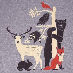 Forest Friends  Unisex / Mens T-Shirt Gray Tee by GnomEnterprises
