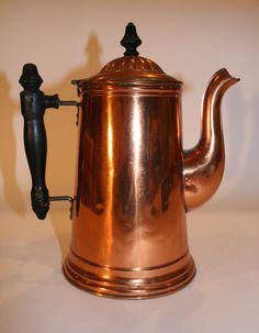 Rome Metal Ware Fabulous primitive style with wooden handle. Some vintage wear and dings. (see photos) 10 tall x wide with handle and spout) Copper Art, Copper And Brass, Antique Copper, Copper Kitchen, Chocolate Pots, Wooden Handles, Antique Items, Tea Set, Teapots