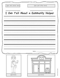 "{Pop Up} Informational Writing - Community Helpers  template for Kindergarten and First Grade. Includes 12 templates plus a blank one for student writing. Two ""writing line"" options. $"