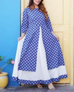 The Secret Label White and Blue Cotton Printed Layered AnarkalI Kurti