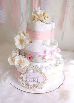 Shabby Chic Flower Diaper Cake / Baby girl Shower Centerpiece gift / Elegant Pink Mint Ivory gold / tulle / baby room decoration by AngAngBabyUS on Etsy