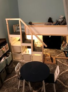 Ikea Kura bed with Thorast stairs and DIY handrail