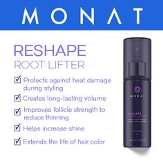 """Looking to crank up the volume? Meet MONAT Root Lifter, the solution to thin, flat hair.  """"In my 20s, my trademark was my thick, full-of-body long hair. I never thought I'd see that kind of volume again, but Reshape Root Lifter has brought it back. I'm 53, and my hair has never looked fuller … or better!"""" - J. Luzzi, Oregon cruzin.mymonat.com"""
