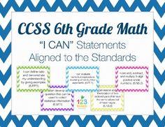 Common Core I Can Statements (6th Grade Math)