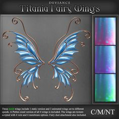 Second Life Marketplace - Deviance - Titania Mesh Fairy Wings - Bluebell