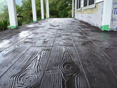 Stamped concrete overlay with the wood plank pattern in in Stuart Virginia Stamped Concrete, Wood Planks, Concrete Deck, Stained Concrete, Concrete Interiors, Diy Pergola, Porch Wood, Concrete Decor, Concrete Design