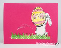 Art Impressions Rubber Stamps Bunny and Egg (Sku#P3098) Easter card. rabbit
