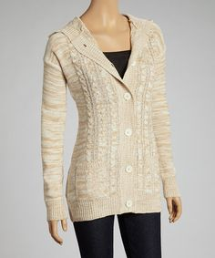 Take a look at this Beige Hooded Cardigan on zulily today!