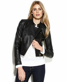 MICHAEL Michael Kors Cropped Leather Moto Jacket - Coats - Women - Macy's $277.49