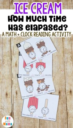 These fun elapsed time cards will help your kids practice telling time and figuring out how much time has passed. Each ice cream cone and popsicle stick is melting! How much time did it take? 3rd Grade Activities, Fun Activities For Toddlers, 3rd Grade Math, Time Activities, Teaching Activities, Fourth Grade, Second Grade, Teaching Resources, Teaching Ideas