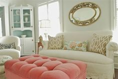 Creative Chaos Living Room - love the pink ottoman!  Tour this home at eclecticallyvintage.com