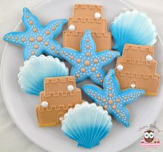 Beach wedding shower cookies, starfish cookies, flip flop cookies, sand castle wedding cake cookies, shell cookies