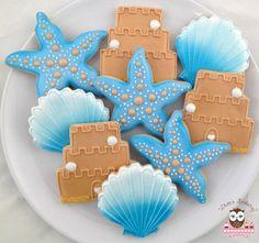 Beach wedding shower cookies, starfish cookies, flip flop cookies, sand castle wedding cake cookies, shell cookies