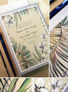 Tropical hand-painted wedding invitations