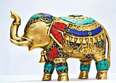 Sculpture Elephant Figurine Beautiful Art by INDIACRAFTSONLINE, $140.00