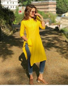 41 Ideas how to wear tshirt dress girls Dress Indian Style, Indian Dresses, Indian Outfits, Casual Indian Fashion, Casual College Outfits, Dress Over Jeans, Kurta Style, Indian Designer Suits, Kurta Designs Women